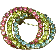 Rhinestones Vibrant Colors Triple Circle Pin Brooch