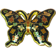 Cloisonne  Guilloche Enamel Black Gold Red Gilt Butterfly Figural Necklace Pendant