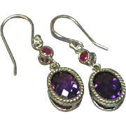 Genuine Gemstones Sterling Silver Amethyst and Ruby Dangle Pierced Earrings