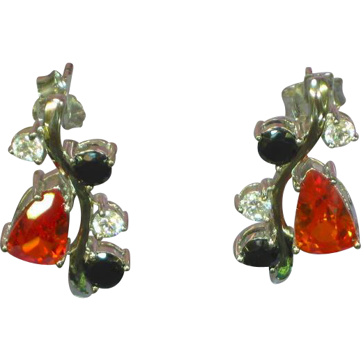 Genuine Gemstones Sterling Silver  Dangle Pierced Earrings