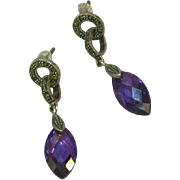 Sterling Silver Amethyst Crystal Briolette Marcasite Pierced Dangle Earrings