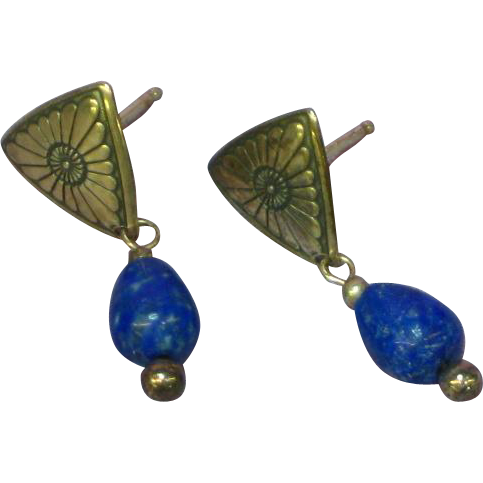 Native American Indian Sterling Silver Hand Crafted Navajo Lapis Pierced Earrings