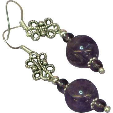 Gemstones Amethyst Sterling Silver Drop Pierced Earrings