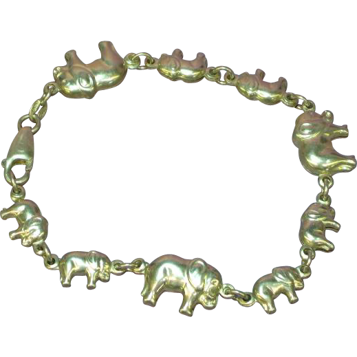 Puffy 3-D Trailing Elephant Sterling Silver Link Bracelet