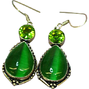Stunning Large Dichroic Green Art Glass Dangle Pierced Earrings