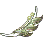 Akoya Signed Matched Cultured Pearls Sterling Silver Brooch Pin