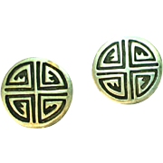 Spectacular Hopi Sterling Silver Overlay Work Clip Earrings
