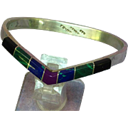 Mexico Sterling Silver Gemstone Inlaid Heavy Bracelet