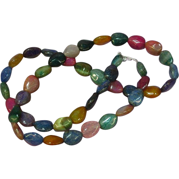 Gemstones Natural Agate Bead Jelly Bean Necklace