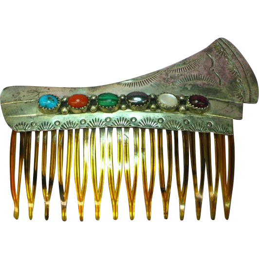 Native American Indian Sterling Silver Marked Genuine Stone Hair Comb