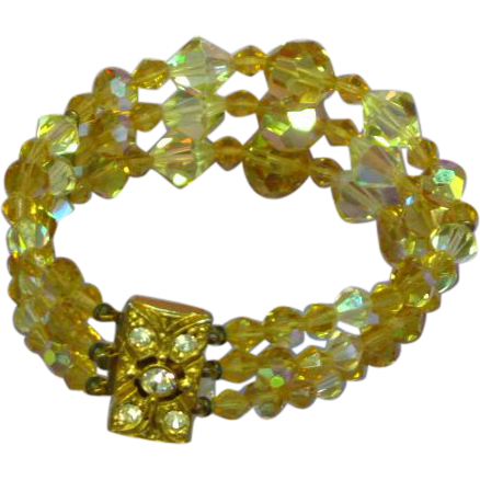 Yellow Crystal & Rhinestones Three Strand Bracelet