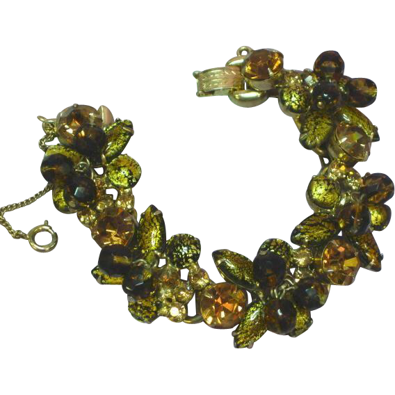 Juliana DeLizza and Elster Cats Eye Gold Foil Art Glass Bracelet