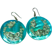 Large Hand-Painted  Decoupage Shell Butterfly Pierced Earrings