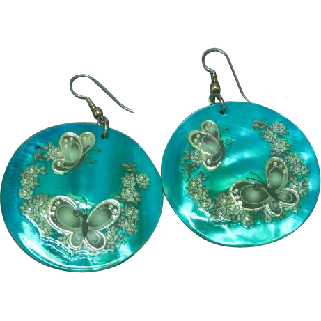 Large Hand-Painted  Decoupage Shell Butterfly Pierced Earrings