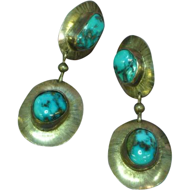 Native American Indian Sterling Silver with Natural Stormy Mountain Turquoise Dangle Pierced Earrings