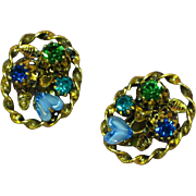 Austrian Crystal Blue Green Art Glass Clip Earrings