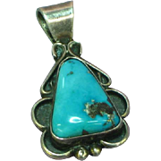 Native American Sterling Silver Bisbee Turquoise Necklace Pendant Hallmarked