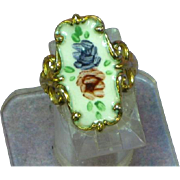 Clark and Combs Marked Guilloche Enamel Roses Sterling Vermeil Ring