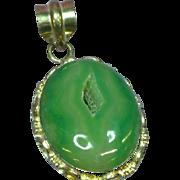 Green Druzy Quartz Geode Sterling Silver Necklace Pendant
