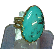 14K YG Natural Turquoise Custom Made Ring