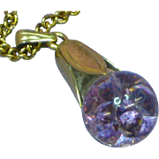 12K Gold Filled Floating Gemstone Amethyst Pendant Necklace