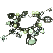 Vintage Mother of Pearl Hearts and Keys Charm Bracelet
