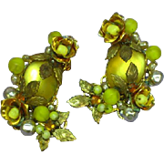 Large Exotic Floral Layers of Yellow Rhinestones Art Glass c.1950's Clip Haskellish Earrings