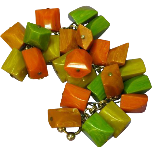 Chunky Vintage Bakelite Bracelet Charm Style with Dangling Chunky Beads