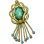 Hobe Hobé Blue Art Glass and Blue Milk Glass Gold Plated Pin Brooch