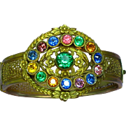Victorian Revival Brass Gemstone Color Glass Rhinestones Kaleidoscope Bangle Bracelet