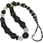 Crystal Audrey Hepburn Stunning Black Glass Black Clear Crystal Beads Necklace