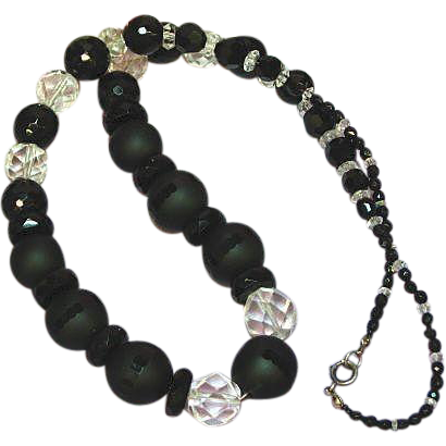 Crystal Audrey Hepburn Stunning Black Glass Black Clear Crystal Beads Necklace