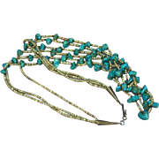 "Turquoise Triple Strand Vintage American Indian Santo Domingo Pueblo Heshi 26"", 28"" and 30"" Ceremonial Necklace"