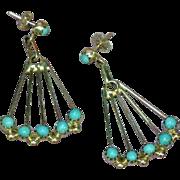 Zuni Snake Eye Sleeping Beauty Turquoise Dot Dangle Sterling Silver Earrings