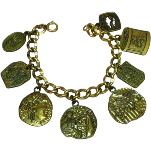 Gold Filled Link Bracelet with Brass Sorority Charms