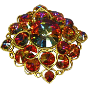 STORE WIDE SALE!! Corocraft Large Brilliant Fuchsia Rivoli Rhinestone Pin Brooch