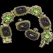 STORE WIDE SALE Art Glass Amethyst Cabochon Peridot Rhinestone Book Chain Bracelet Earrings Set Demi Parure
