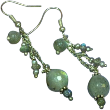 STORE WIDE SALE Genuine Gemstones Sterling Silver Faceted Labradorite Dangle Pierced Earrings