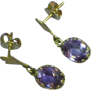 14K Yellow Gold 1940's Amethyst Dangle Pierced Earrings