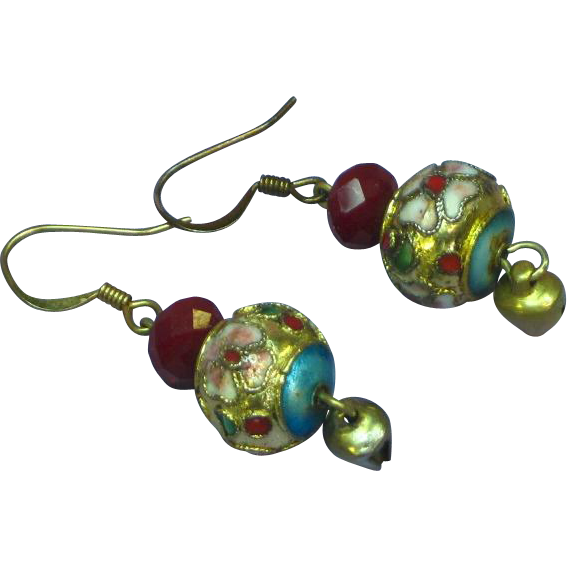 SALE! STOREWIDE Faceted Ruby Chinese Cloisonne Pierced Dangle Earrings