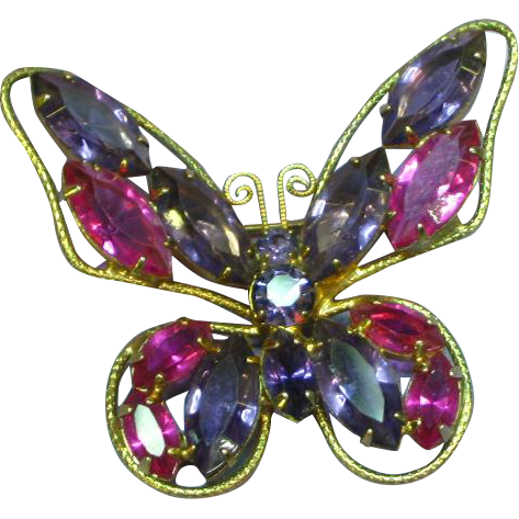 SALE! STOREWIDE Rhinestones Purple Magenta Butterfly Pin Brooch