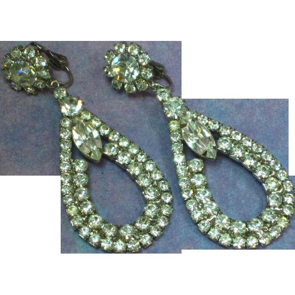 Rhinestone Crystal Large Drop Black Tie Clip Earrings