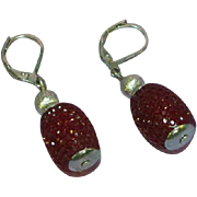 Ripe Red Raspberry Sterling Silver Drop Pierced Earrings