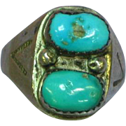 Native American Indian Estate Sterling Silver Turquoise Gents Ring