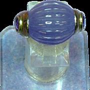 Elegant Carved Lavender Jadeite & Amethyst Sterling Silver Ring