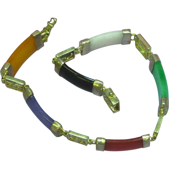 Jade Jadeite Natural Multi Color Sterling Silver Bracelet