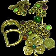Art Signed Spectacular 1950's Charm Bracelet and Earrings Set Parure