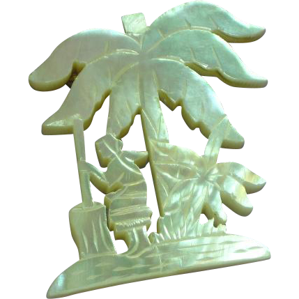 Gorgeous Large Carved Island Motif  Mother of Pearl Vintage Estate Pin Brooch