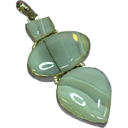 Large Massive Rippled Translucent Agate Three Stone Necklace Pendant