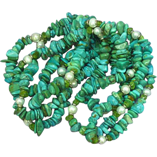 Long Genuine Turquoise with Pearls Nugget Necklace